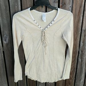 Free People L Top Lace Up V Neck Butter Yellow